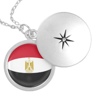 "Silver plate Locket +18"" chain Egypt flag"