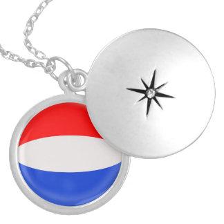 """Silver plate Locket +18"""" chain Holland Dutch flag"""