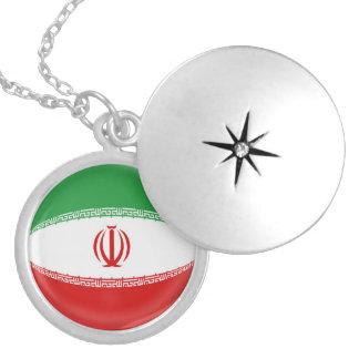 "Silver plate Locket +18"" chain Iran Iranian flag"