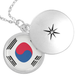 "Silver plate Locket +18"" chain South Korea flag"