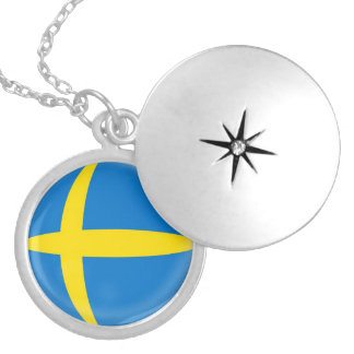 "Silver plate Locket +18"" chain Sweden flag"