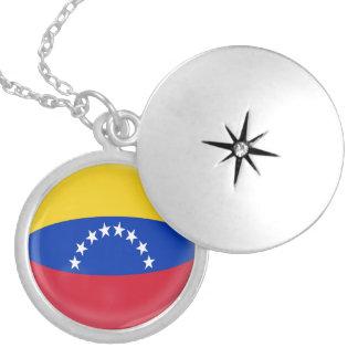"Silver plate Locket +18"" chain Venezuela flag"