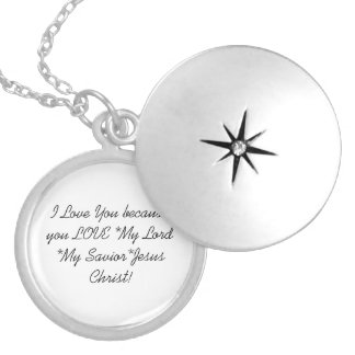 Silver Plated Round Locket: I Love You Round Locket Necklace