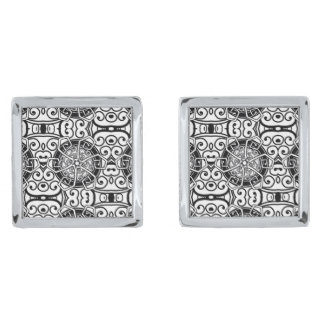 Silver plated tribal men's designer cuff links silver finish cufflinks