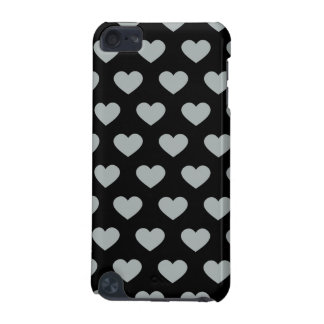 Silver Polka Dot Hearts (Black Background) iPod Touch (5th Generation) Case