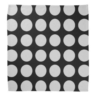 Silver Polka Dots Black Bandana