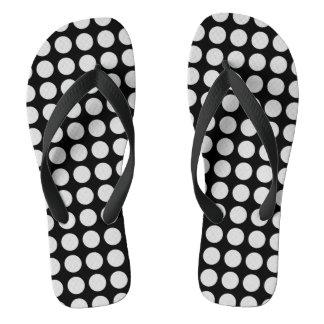 Silver Polka Dots Black Flip Flops