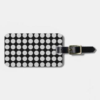 Silver Polka Dots Black Luggage Tag