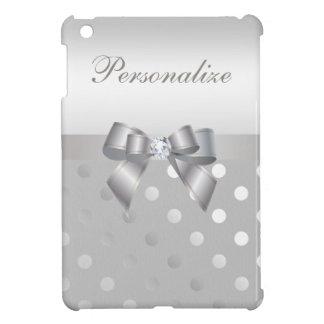 Silver Polka Dots, Bow & Diamond Personalized iPad Mini Cover