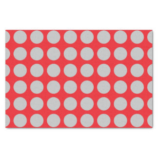 Silver Polka Dots Red Tissue Paper