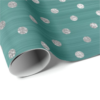 Silver Polka Dots Teal Tropical Green Steel Shiny Wrapping Paper
