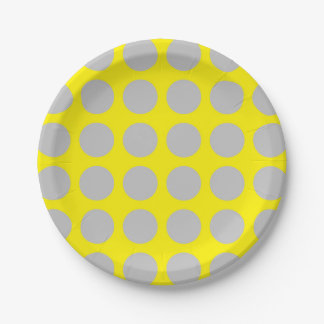 Silver Polka Dots Yellow Paper Plate