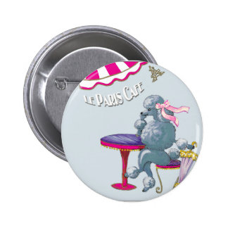 Silver Poodle in Paris Cafe Gifts for the family 6 Cm Round Badge