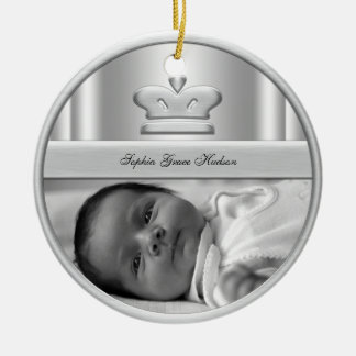Silver Princess Crown Baby Girl Photo Ornament