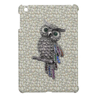 Silver Printed Owl & Jewels on Diamonds Print Cover For The iPad Mini