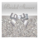 Silver Printed Sequins Bow & Diamond Bridal Shower Custom Announcement