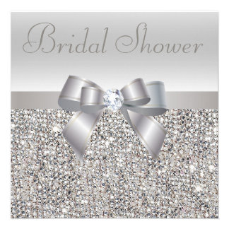 Silver Printed Sequins Bow Diamond Bridal Shower Announcements