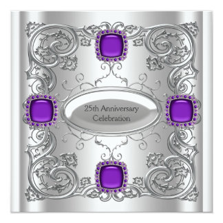Silver Purple 25th Wedding Anniversary Party 13 Cm X 13 Cm Square Invitation Card