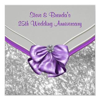 Silver Purple 25th Wedding Anniversary Party 13 Cm X 13 Cm Square Invitation Card