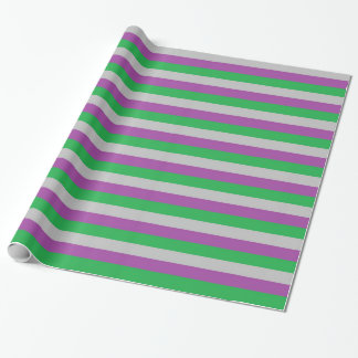 Silver, Purple and Green Stripes Wrapping Paper