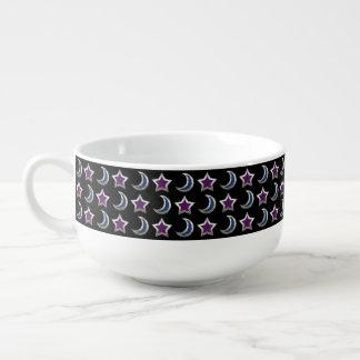 Silver Purple Blue Stars and Moons Pattern Black Soup Mug