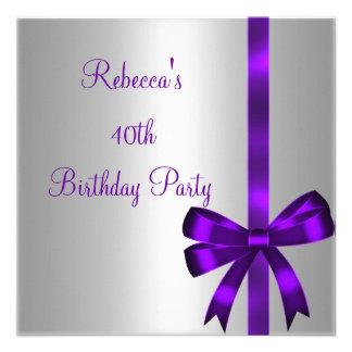 Silver Purple Bow 40th Elegant Birthday Party Personalized Invitation