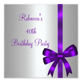 Silver Purple Bow 40th Elegant Birthday Party Personalized Invitation