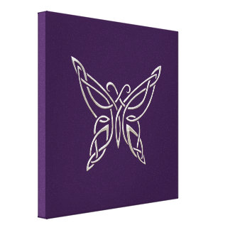 Silver Purple Celtic Butterfly Curling Knots Gallery Wrapped Canvas