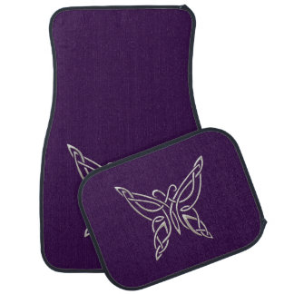 Silver Purple Celtic Butterfly Curling Knots Car Mat