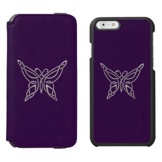 Silver Purple Celtic Butterfly Curling Knots Incipio Watson™ iPhone 6 Wallet Case