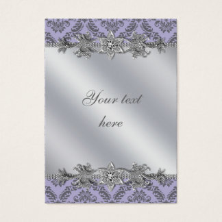 Silver Purple Damask Business Card