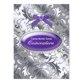 "Silver Purple Damask Elegant Purple Quinceanera 6.5"" X 8.75"" Invitation Card"
