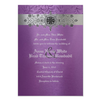 Silver & Purple Floral Metallic Wedding Invitation