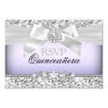 Silver Purple Glitter & Jewel Bow Quinceanera RSVP 9 Cm X 13 Cm Invitation Card