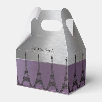 Silver Purple Metallic Paris Eiffel Personalized Wedding Favour Box