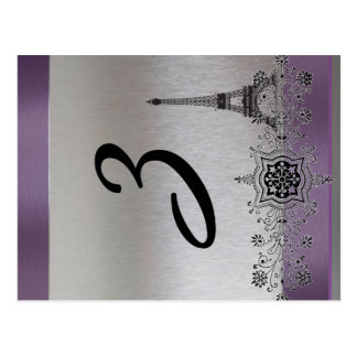 Silver Purple Paris Eiffel Tower Table Number Postcard