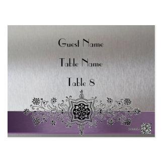 Silver Purple Paris Place Card Post Cards