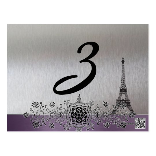 Silver Purple Paris Table Number Postcard