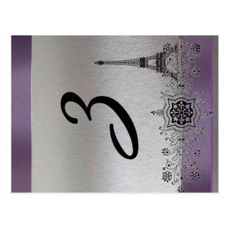 Silver Purple Paris Vertical Table Number Postcard