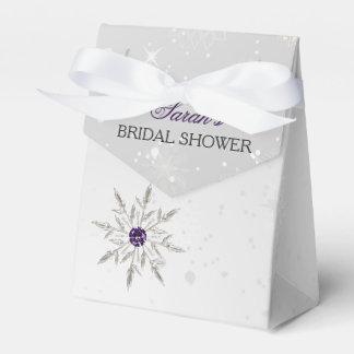 silver purple snowflakes bridal shower favor box favour box