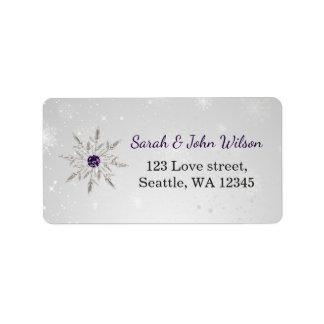 silver purple snowflakes return address label