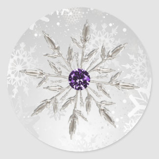 silver purple snowflakes winter wedding stickers