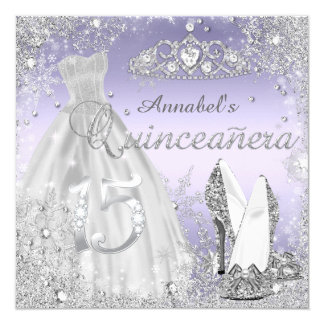 Silver & Purple Sparkle Dress & Tiara Quinceanera 13 Cm X 13 Cm Square Invitation Card