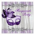 Silver Purple Sparkles Purple Masquerade Party Card