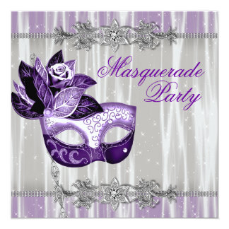 Silver Purple Sparkles Purple Masquerade Party Announcement