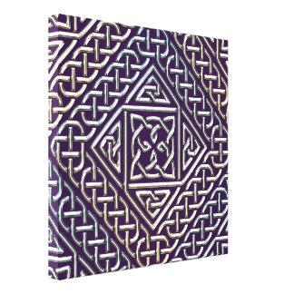 Silver Purple Square Shapes Celtic Knots Pattern Stretched Canvas Prints
