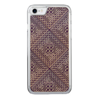 Silver Purple Square Shapes Celtic Knots Pattern Carved iPhone 8/7 Case
