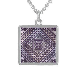 Silver Purple Square Shapes Celtic Knots Pattern Pendants