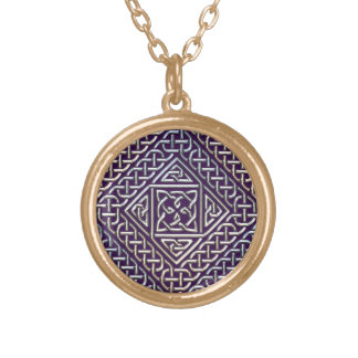 Silver Purple Square Shapes Celtic Knots Pattern Jewelry