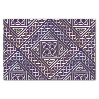 Silver Purple Square Shapes Celtic Knots Pattern Tissue Paper